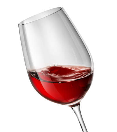 Moving red wine glass over a white background photo