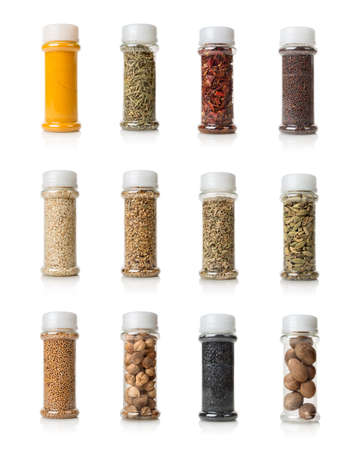 Collage of spices isolated on white background photo