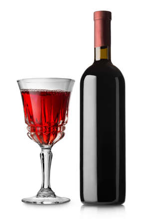 bootle: Glass of red wine and bottle isolated on white background