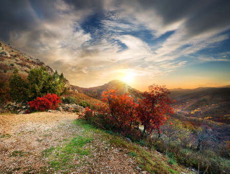 Blue Ridge Mountains: Late autumn in the mountains at sunset