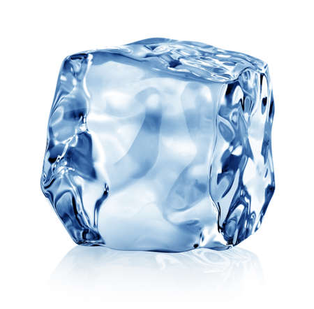 Cube of blue ice isolated on a white background Banco de Imagens - 26785123