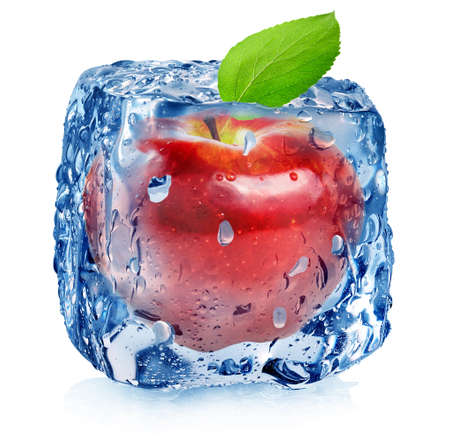 Ice cube and red apple isolated on a white background Stock Photo