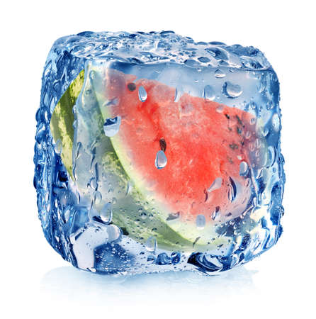 Watermelon in ice cube isolated on white photo