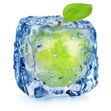 Ice cube and apple isolated on a white background photo