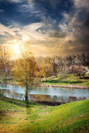 River and sunrise photo