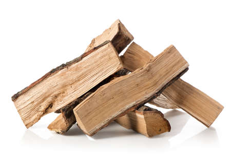 Pile of firewood isolated on a white background Stockfoto
