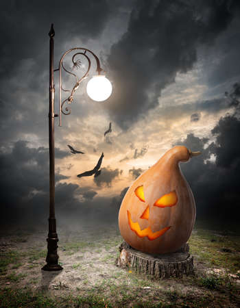 Halloween pumpkin on the stump and streetlamp photo