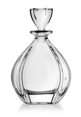 Empty decanter isolated on a white background photo