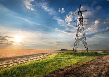 energia electrica: Poste el�ctrico en el campo de oto�o al amanecer Foto de archivo