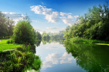 water's edge: Beautiful blue river in the summer day