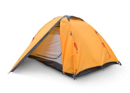 白 backgrouynd に分離された黄色観光テント