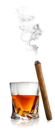 smoking cigar: Whiskey and cigar isolated on a white background