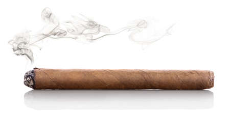 smoking a cigar: Smoking havana cigar isolated on a white background
