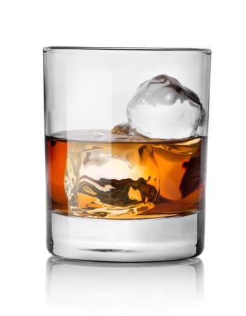 whiskey glass: Glass of whiskey with ice isolated on white