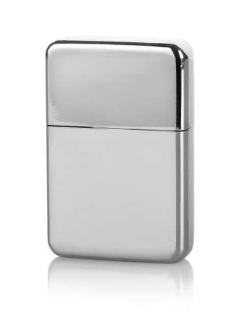 Silver lighter isolated on a white background photo