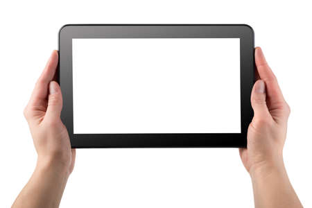 tablet pc in hand: Tablet computer isolated on a white background Stock Photo
