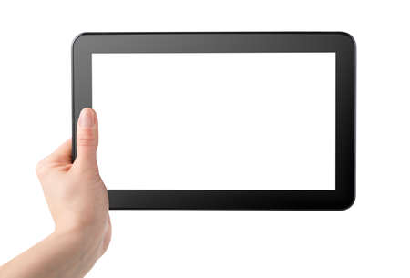 Tablet computer in hand isolated on white photo
