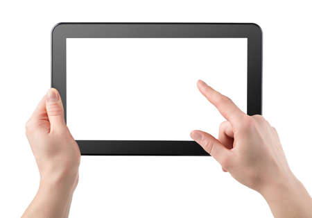 Tablet horizontally isolated on a white background photo