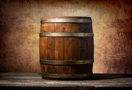 木製の樽テーブルでテクスチャ背景