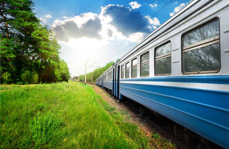 Train wagon and pine forest at sunny day Banco de Imagens - 39448300