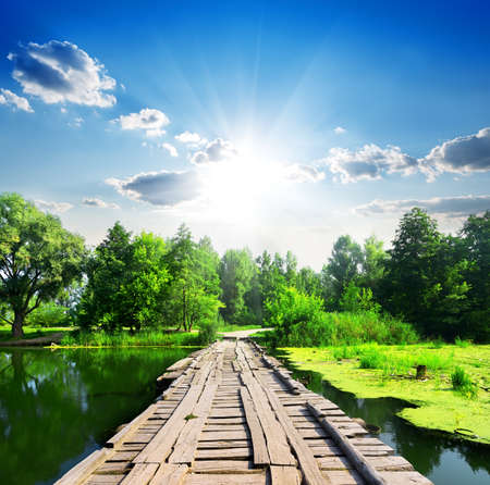 Wooden bridge on a silent river at sunny day