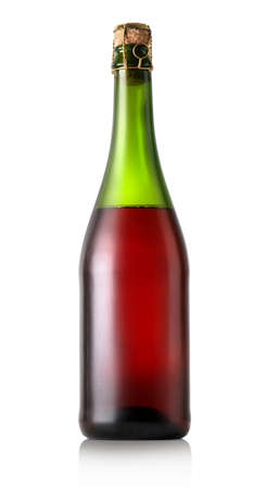 closed corks: Bottle of dry red wine isolated on white Stock Photo