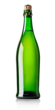 closed corks: Beer in green bottle isolated on white Stock Photo