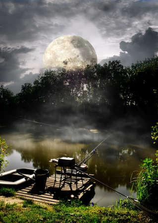 fool moon: Full moon over fishing pier on river