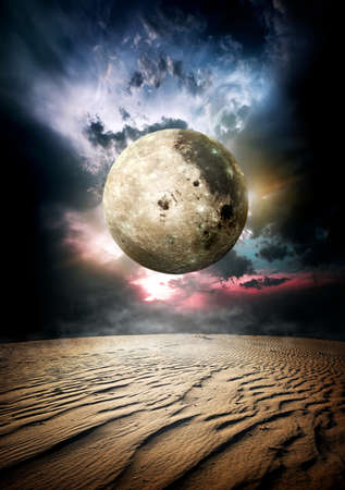 moon  desert: Full moon and beautiful clouds in desert. Elements of this image furnished by NASA