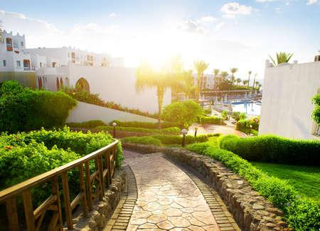 아침에 이집트 호텔의 아름다움
