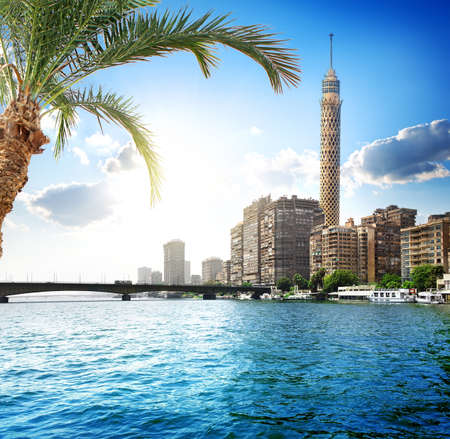 Cairo TV tower on the bank of Nile Imagens - 45632891