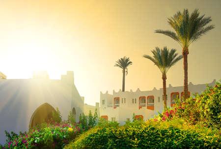 climate morning: Bright morning sun in Egyptian resort hotel