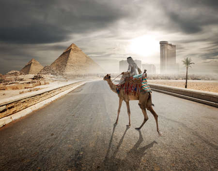 pyramid: Cloudy evening over the road to pyramids