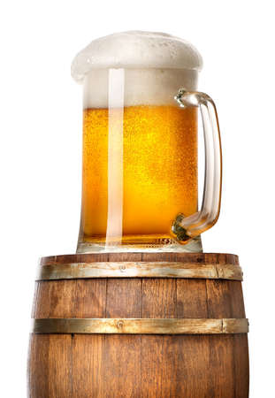 Light beer on cask isolated on a white background
