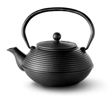 ceramic: Black chinese teapot isolated on a white background