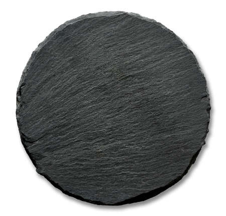 black circle: Round slate stand isolated on a white background