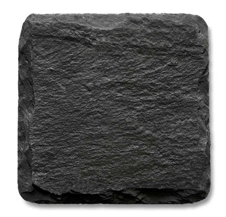 blank slate: Square slate stand isolated on a white background Stock Photo