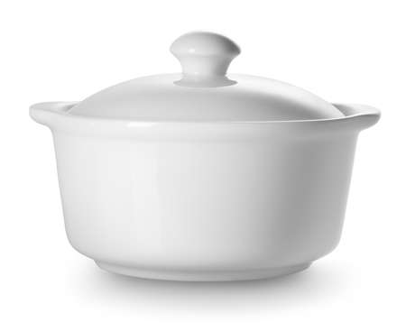 tureen: Small ceramic tureen isolated on a white background Stock Photo