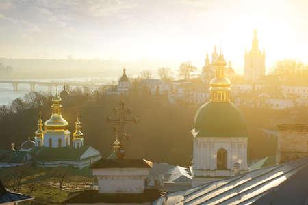 lavra: Churches in Kyev-Pechersk Lavra in winter morning Stock Photo