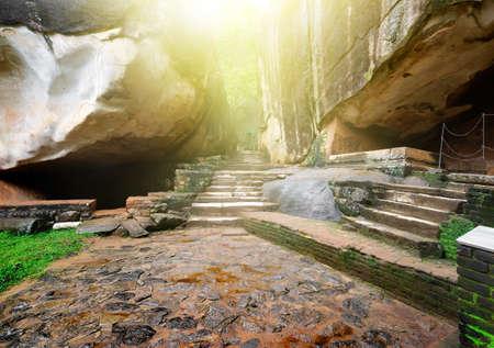 sigiriya: Stairs and rocks in ruined palace on Sigiriya, Sri Lanka