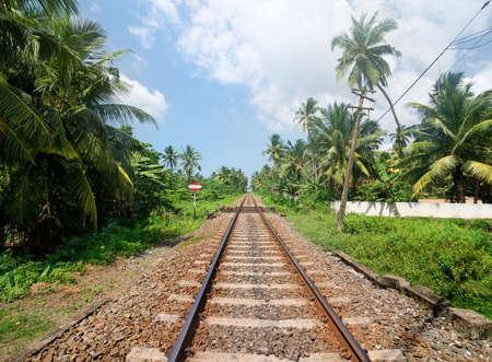 railroads: Sign near railroad in jungles of Sri Lanka Stock Photo