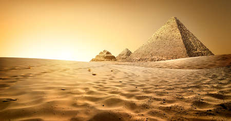ruins is ancient: Egyptian pyramids in sand desert and clear sky
