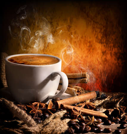 bracing: Still life with coffee and spices on orange background
