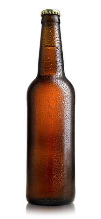 brown bottle: Brown bottle of beer isolated on a white background