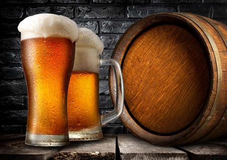 near beer: Wooden keg and beer near black brick wall
