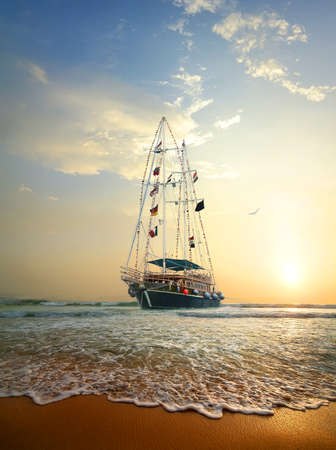 ship deck: Sailing ship on the waves of Indian ocean Stock Photo