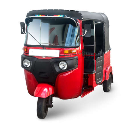 tuk tuk: Red tuk tuk isolated on a white background