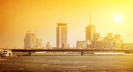bridgework: Nile river in the city of Cairo under bright sun
