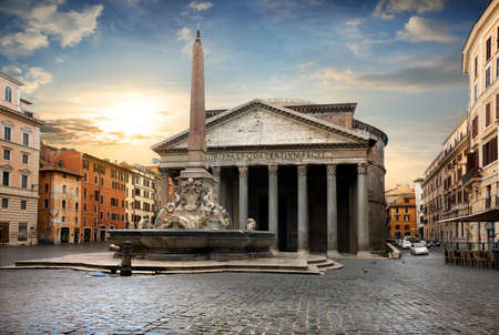pantheon: Pantheon in Rome at the sunset, Italy Stock Photo