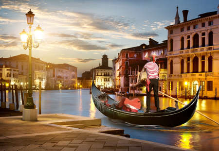 Grand Canal in sunset time, Venice, Italy 스톡 콘텐츠